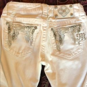 Miss Me boot cut white denim jeans